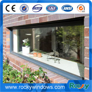 Aluminum Fixed Double Glass Window Wooden Colour pictures & photos