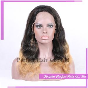Two Tone Indian Remy Hair Blonde Lace Front Wig pictures & photos