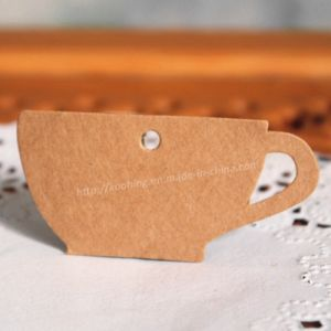 Kraft Paper Coffee Cup Shape Tag with Hole pictures & photos