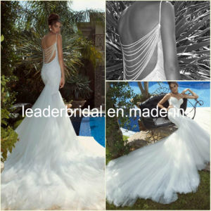 Mermaid Wedding Dress Pearls Back Cathedral Train Tulle Lace Bridal Gown A165 pictures & photos