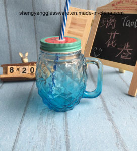 Hot Sell Pineapple Shape Glass Handle Cup/Mason Mug with Metal Cover pictures & photos