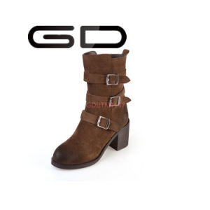 Fashion Hot Sale Black and Brown Suede Buckle Strappy Woman Shoes Half Boots pictures & photos