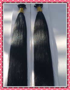 "Premium Quality 100% Human Hair Real Remy Hair Extension Pre-Bonded Hair Extension I-Tip 20""1.0g Per Strand Black Color pictures & photos"