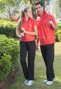 100% Cotton High Quality Short Sleeve Stripe Unisex Polo T-Shirt (FY-PTS47)
