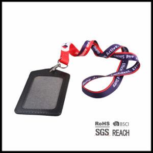 Office Staff Lanyards for ID Badges with Leather Wallet pictures & photos