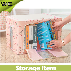 Foldable Cheap Fabric Bin Container Storage Box with Lid Basket pictures & photos