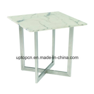 Modern Cafe Marble Table with Metal Leg for Sale China (SP-GT443) pictures & photos