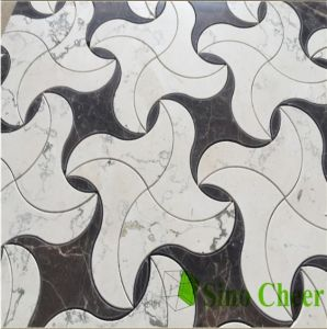 Dark Emperador and White Pre Cut Waterjet Marble Mosaic pictures & photos