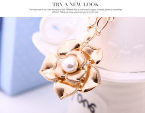 Flower Pearl Rose Gold Pendant Earring Necklace 2 PCS Set Fashion Jewelry pictures & photos