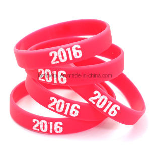 Personalized Custom Printing Logo Silicone Rubber Bracelet pictures & photos