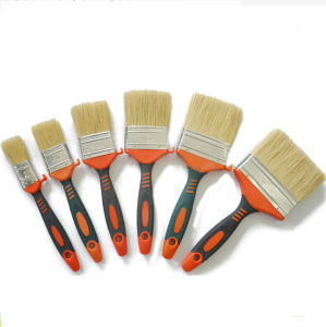 Professional White Bristle Blend Double Colour of Plastic Handle Flat Brush (GMPB021) pictures & photos
