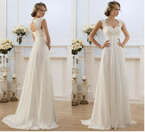 Double Scalloped Straps Sleeveless Full Length Outdoor Beach Wedding Dress pictures & photos