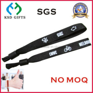 Custom Promotional Cheap Woven One Time Use Woven Wristband pictures & photos