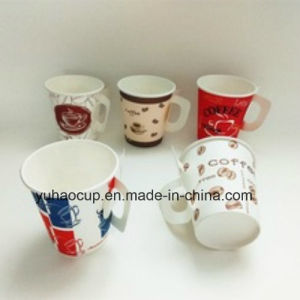 Wholesales 7oz Disposable Printed Coffee Paper Cup with Handle pictures & photos