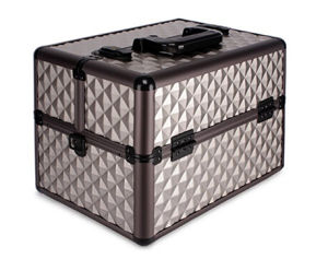 Diamond Textured Pattern 6 Extendable Trays Aluminum Professional Makeup Artist Cosmetic Storage Carrying Travel Train Case + Shoulder Strap pictures & photos