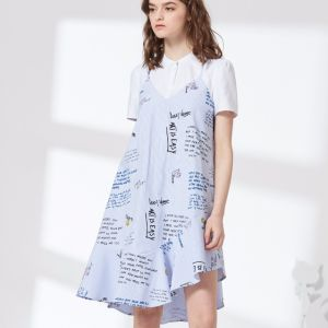 2018 Fashion Printed False Two Shirt Dress pictures & photos