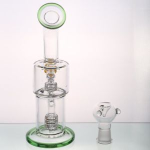 Green Double Percolators pipes Oil Rigs Water Pipes Smoking Pipes pictures & photos