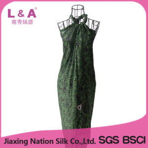 Women′s Green Leaves Rayon Beach Sarong Printing Scarf pictures & photos