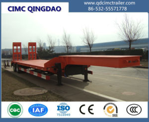 Cimc 3 Axle Low Flat Bed Truck Trailer, 60tons Low Flatbed Trailer Truck Chassis pictures & photos