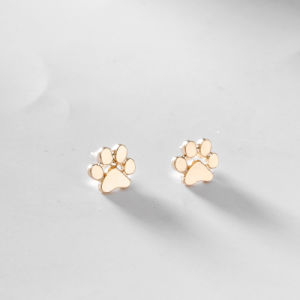 Pet Dog / Cat Paw Metal Stud Earrings - Gold-Silver Tone pictures & photos