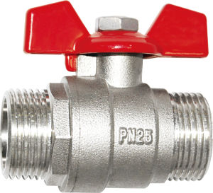 Nickel Plated Female/Male Thread Brass Butterfly Ball Valve pictures & photos