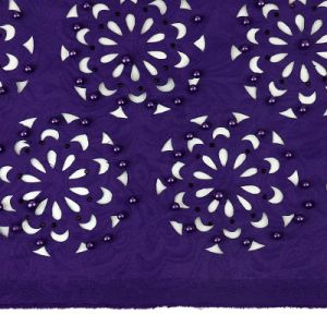 Candlace Royal Blue Color Beaded Laser Cut Lace Fabric for Wedding pictures & photos