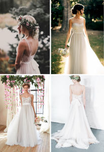 Vintage Sheer Neck Tulle Chiffon A-Line Outdoor Wedding Dress pictures & photos