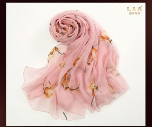 Pink Silk Scarves The Bird Printing pictures & photos