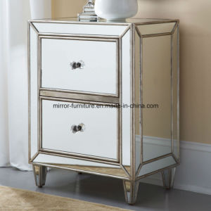 High Quality Hotel Bedroom Furniture Mirror Nightstand with 2 Drawers Mirrored Furniture pictures & photos