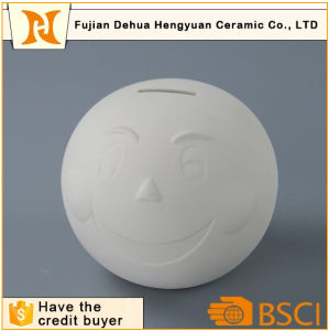 Modern Design White Ceramic Coin Bank in Round Shape pictures & photos