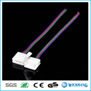 10mm 4pin Solderless Connector Cable for 5050 RGB Waterproof LED Strip Light pictures & photos