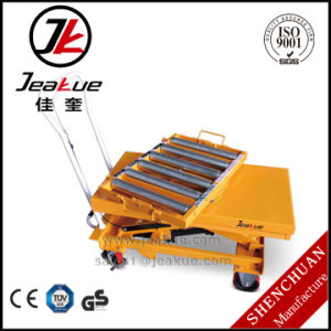 Fashion Scissor Design Hydraulic Lift Table with 360 Rotating Rollway pictures & photos