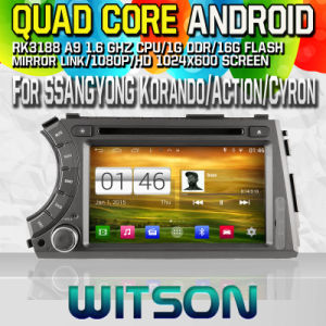 Witson S160for Ssangyong Korando/Action/Cyron Actyon Sports Car DVD GPS Player with Rk3188 Quad Core HD 1024X600 Screen 16GB Flash 1080P WiFi 3G Front (W2-M158) pictures & photos