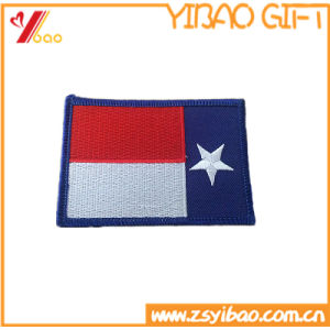 Factory Custom Woven Fabric Merrow Border Embroidery Flag Patches pictures & photos