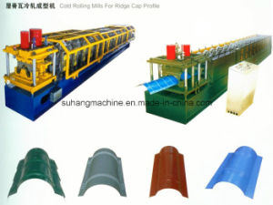 Blue Manual Hydraulic 3 Ton Decoiler Roof Tile Roll Forming Machine pictures & photos