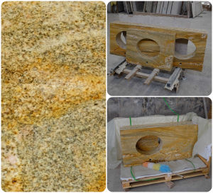 Gold Imperial Granite Stone Laminate Solid Countertop for Kitchen Cabinet