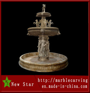 Yellow Marble Stone Carving Water Fountain (NS-223) pictures & photos