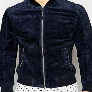 2016 Men′s Cool Blue Leather Suede Winter Jacket pictures & photos