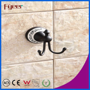 Fyeer Classic Black Bathroom Accessory Brass Hanging Robe Hook pictures & photos