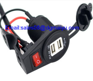 12-24V 2.1A/1A Waterproof Motorcycle Dual USB Charge Socket with Switch for Mobile Phone MP3 GPS Car Motorbike Charger pictures & photos