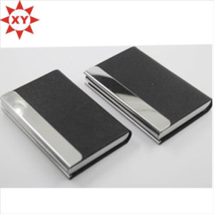 Shiny Metal Black Leather Business Card Holder pictures & photos