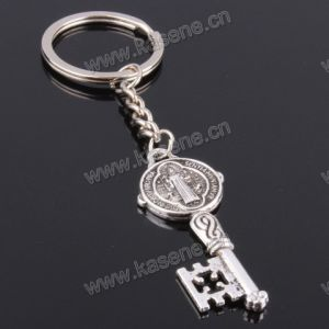 New Item Religious Zinc Alloy Key Shape with Epoxy Image Keychain