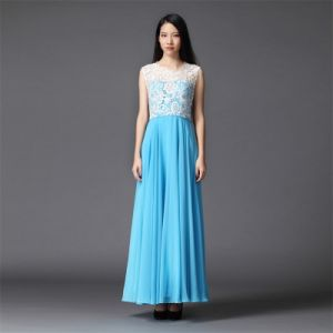 Lace Bodice Chiffon Women Dress for Ball and Party (LD0189)