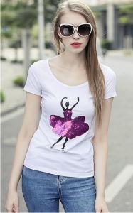 Women Short Sleeve Cotton Sequin T-Shirt pictures & photos