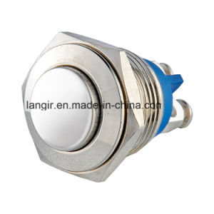 16mm High Flat Head Momentary Anti-Vandal Nickel Plated Brass Push Button Switch, Normal Open Push Button Switch pictures & photos