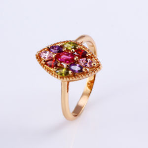 11796 Popular 18k Gold-Plated Flower Colorful Zircon Jewelry Finger Ring in Copper Alloy pictures & photos