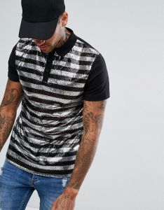 Men′s Polo Shirt in Sequin Stripe pictures & photos