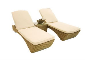 Garden Furniture/Rattan Chaise Lounge/Double Wicker Sun Lounger pictures & photos