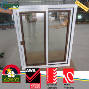 Wood Color PVC Sliding Window, Double Glazing Window for Bedroom pictures & photos