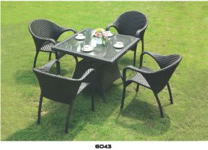 Outside Dining Table/PE Reattan Furniture/Garden Chair/Courtyard Chair pictures & photos